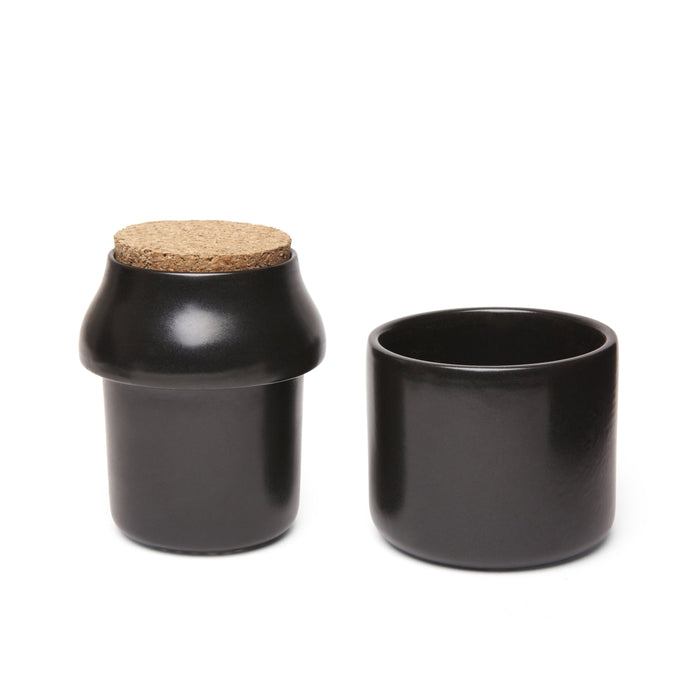 Ceramic Grinder + Jar Large Black