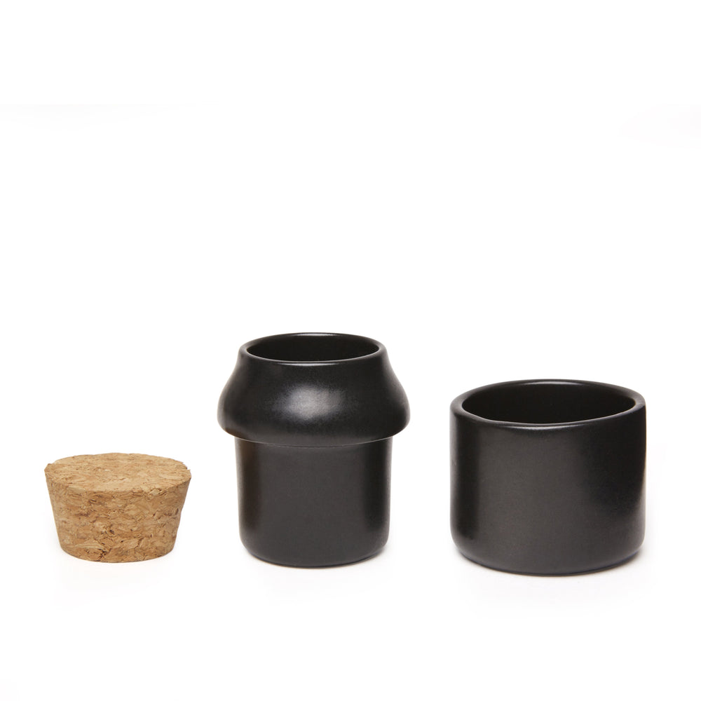 Ceramic Grinder + Jar Small Black