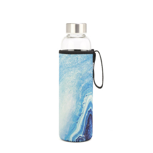 Blue Agate Glass Bottle + Sleeve