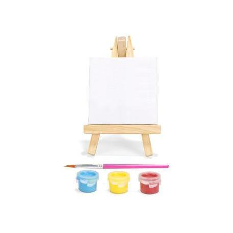 Mini Paint Set - Canvas - Wooden Easle - Paint Brush - Acrylic Paint