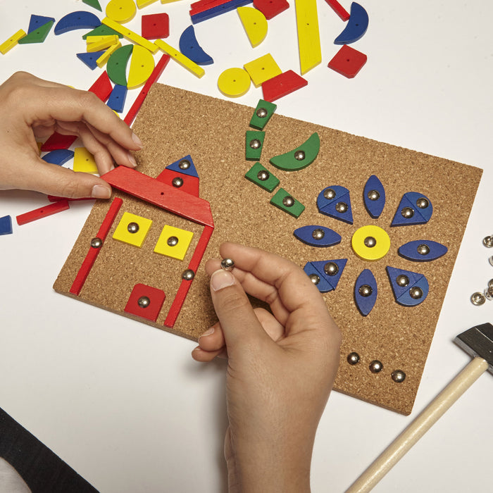 Hammer Tap Art Game - 90 Colourful Shapes And Tacks