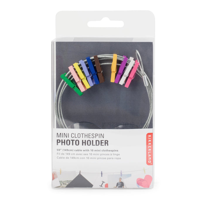 Photo Holder Wire With 10 Multicolor Mini Clothespins