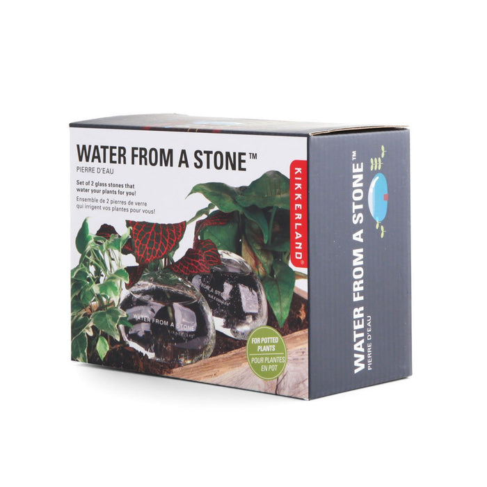 Water From A Stone Glass Automatic Self Watering Stones by Kikkerland Set of 2