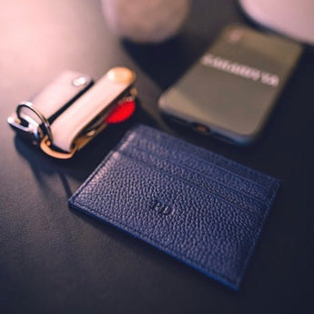 Navy Leather Cardholder