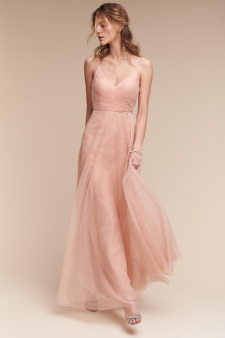 Ruched top bridesmaid dress