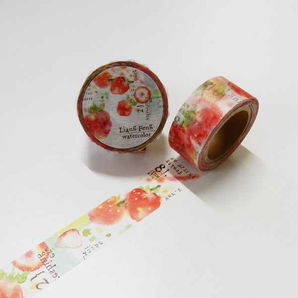 Round Top x Liang Feng Strawberry Mint (Die-Cut) Watercolor Washi Tape