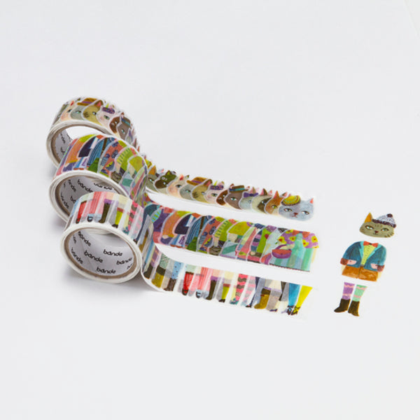 Bande Stylish Cats Washi Roll Sticker - MOMOQO