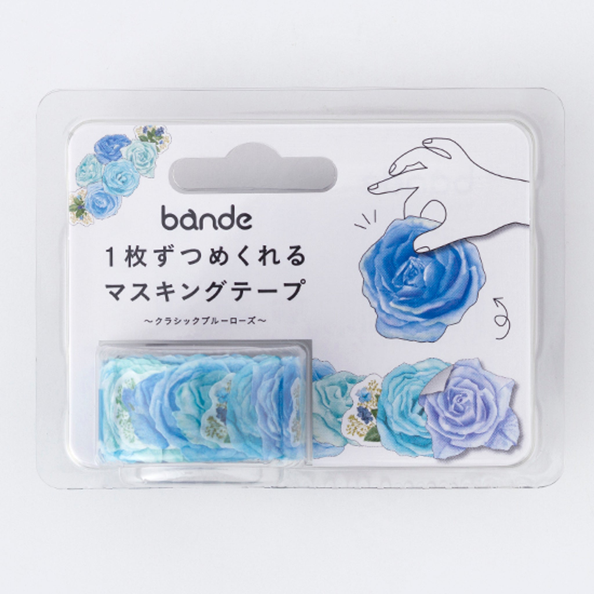Bande Blue Rose Washi Roll Sticker