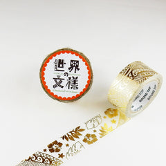 Round Top x Material Michemon Hawaiian Motif (Gold Leaf) Washi Tape