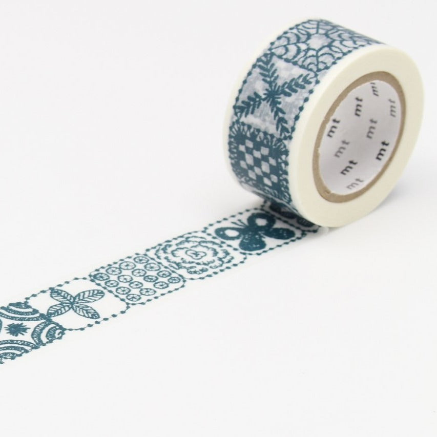 mt × mina perhonen forest tile blue washi tape (MTMINA29)