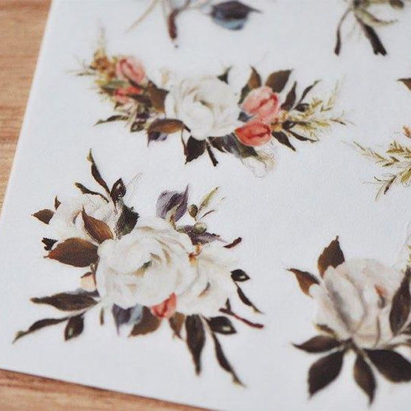 Mu Craft Print-On Sticker Flower (White) 033