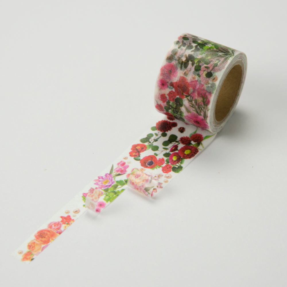 Round Top x Yano Design Flower Line - Red & Pink washi tape (YD-MK-057