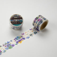 Round Top x Yano Design Flower Line - Blue & Violet washi tape