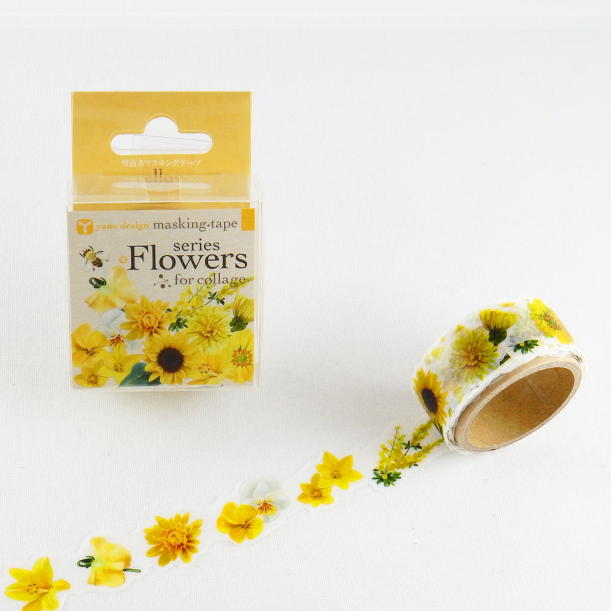 Round Top x Yano Design Flower collage, yellow  washi tape