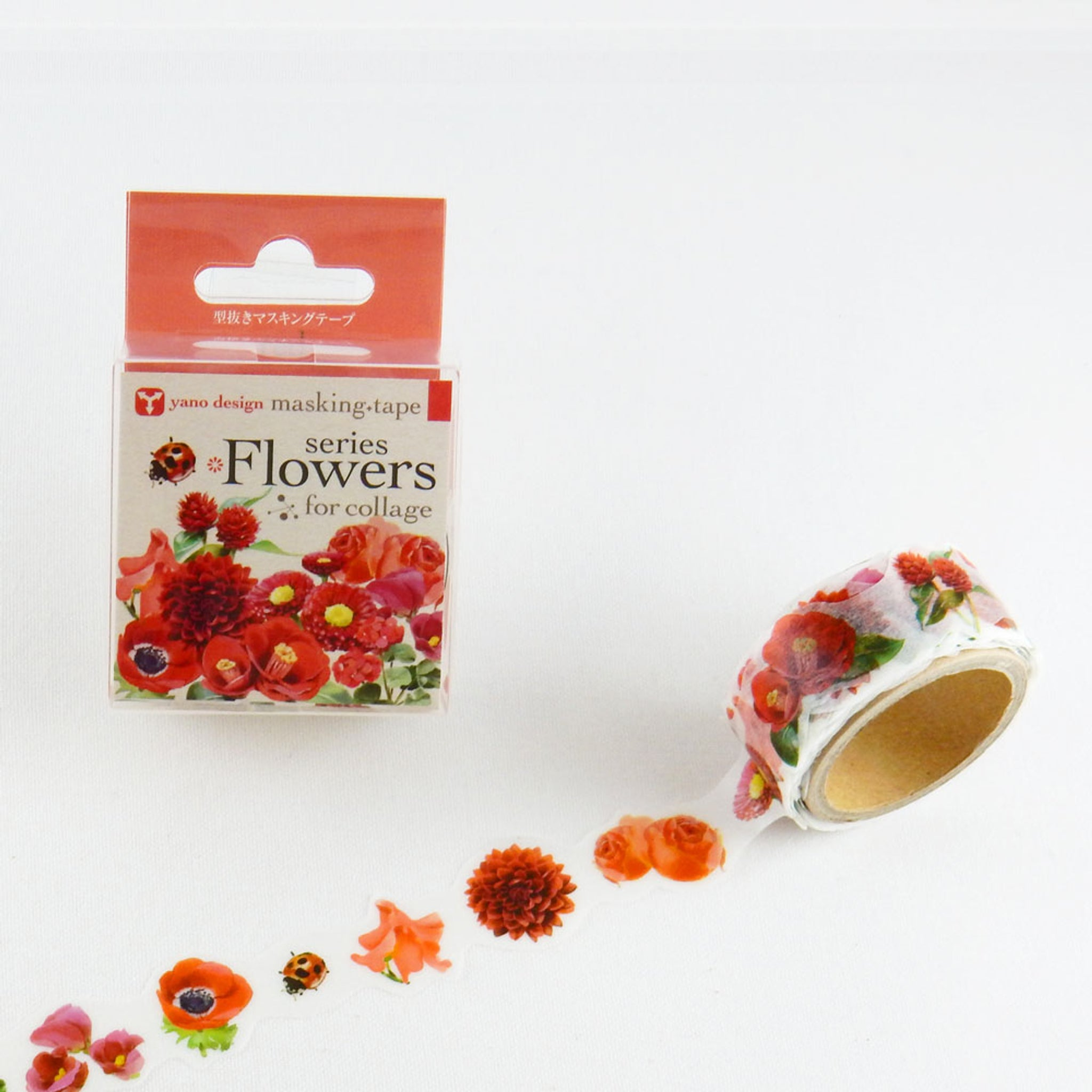 Round Top x Yano Design Flower collage, red  washi tape
