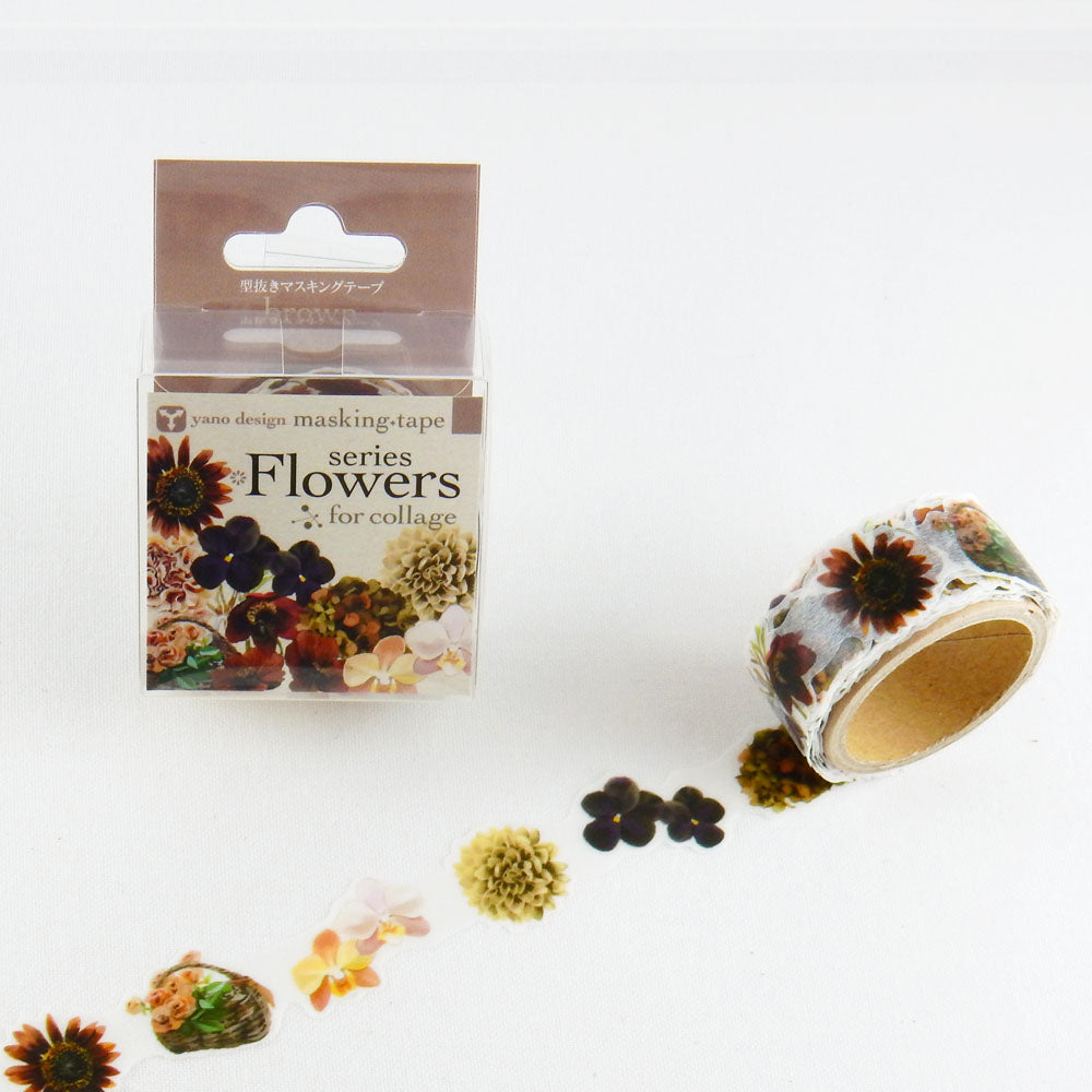 Round Top x Yano Design Flower collage, brown washi tape (YD-MK-042