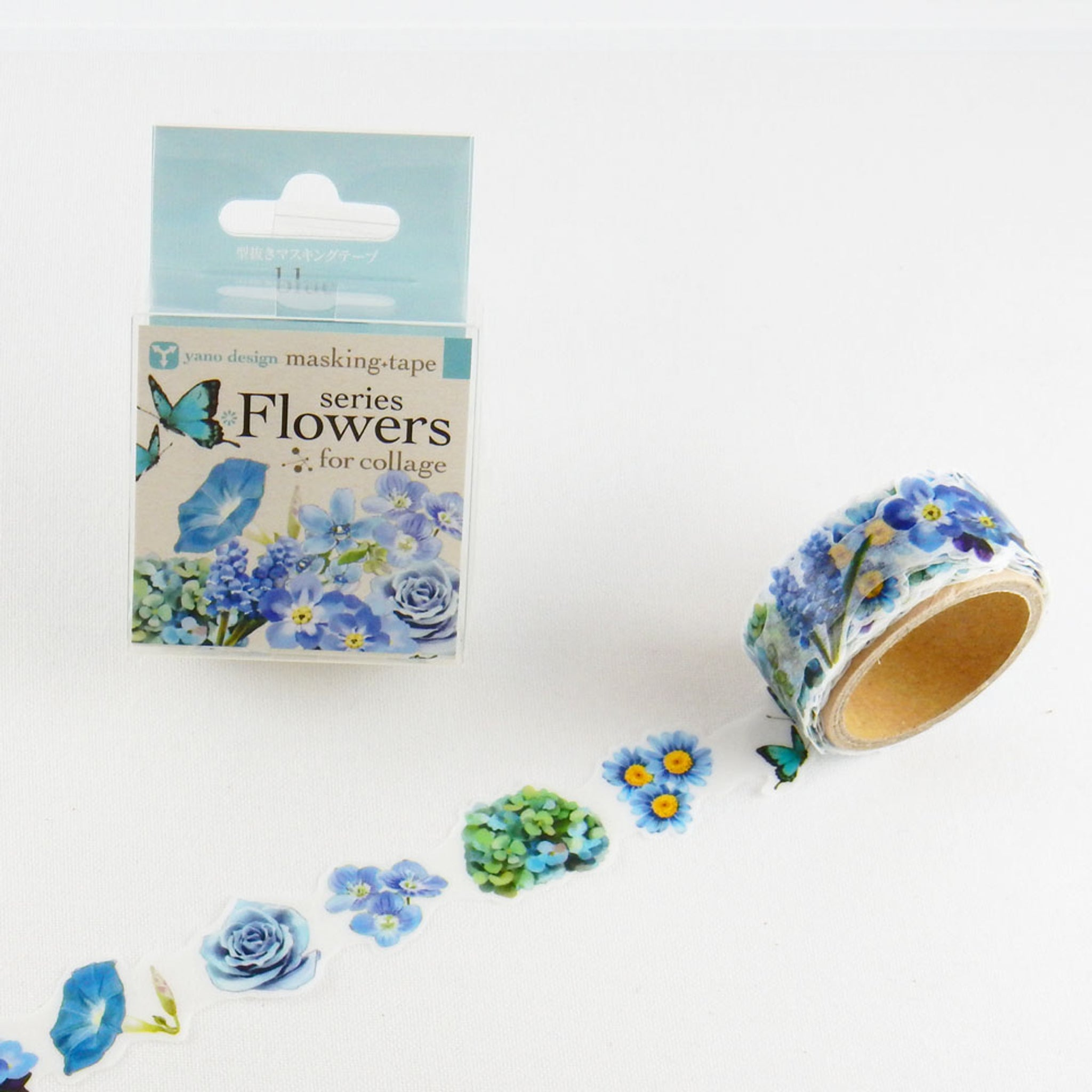 Round Top x Yano Design Flower collage, blue  washi tape