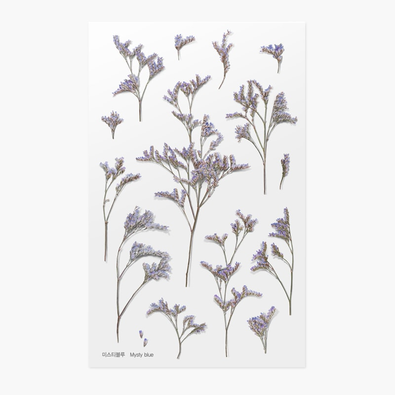 Appree Pressed Flower Sticker Misty Blue
