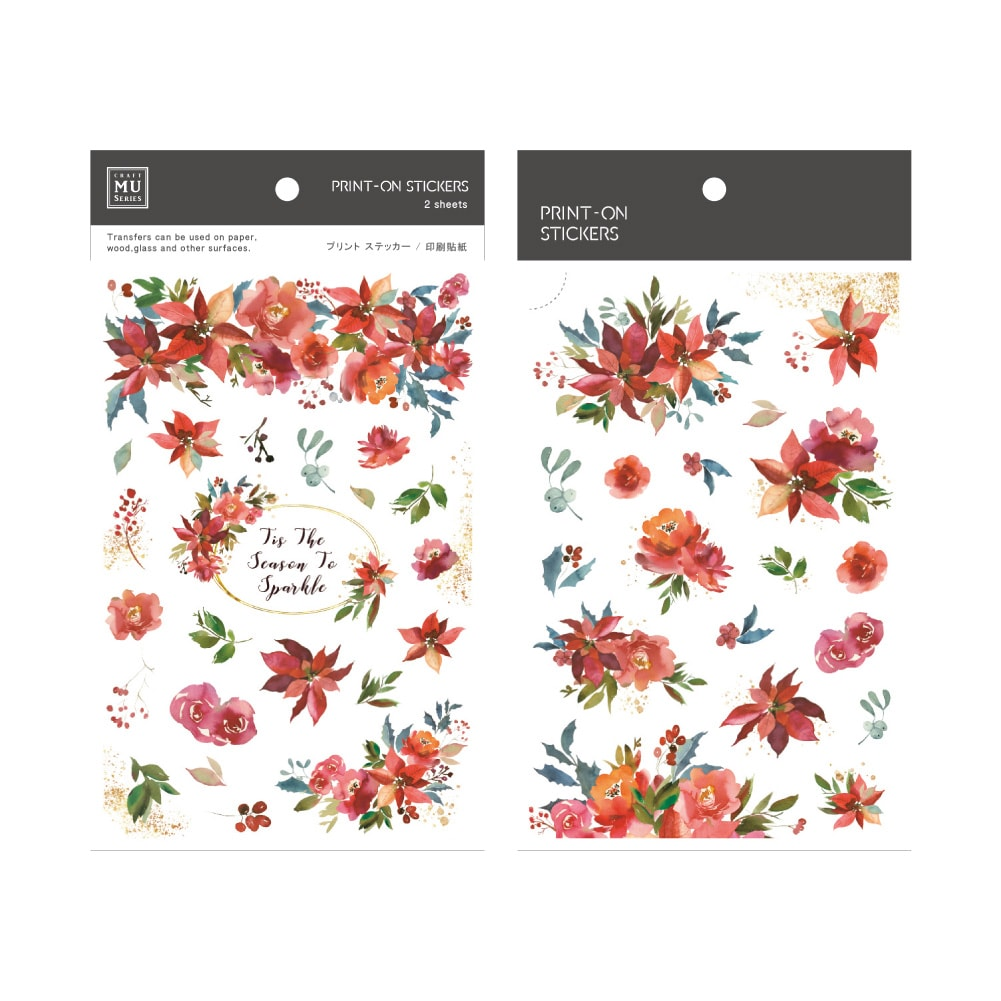 MU Craft Print-On Sticker Red Flowers 152