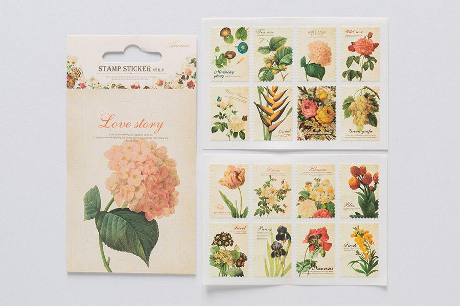 DailyLike Ancien Stamp sticker Flower - Cityluxe