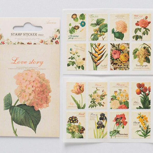 DailyLike Ancien Stamp sticker Flower