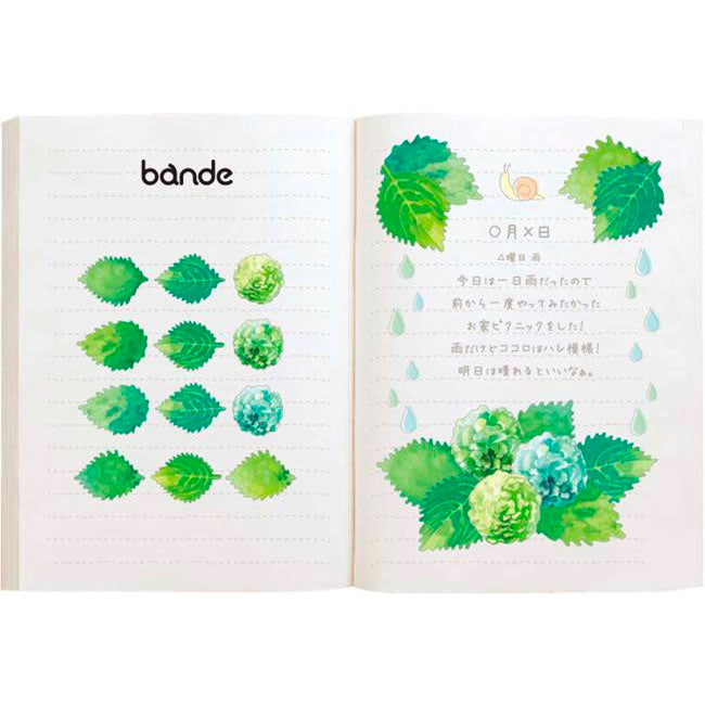Bande Green Leaves Washi Roll Sticker
