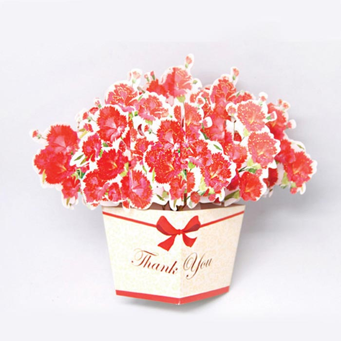 D'Won 3D Card - Thank You, Flower In A Box, Red - Cityluxe