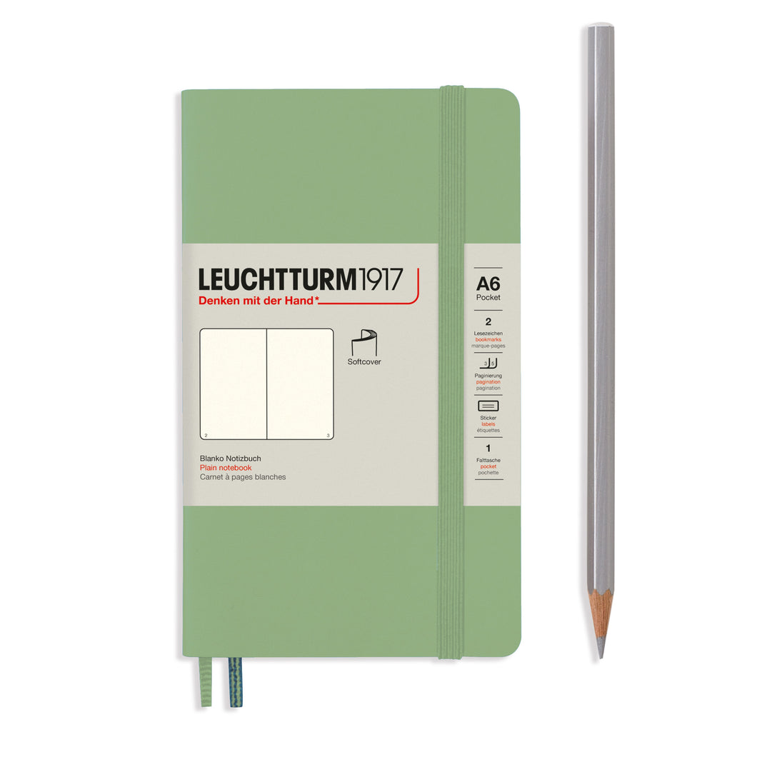 Leuchtturm1917 Hardcover A6 Pocket Notebook Sage - Plain