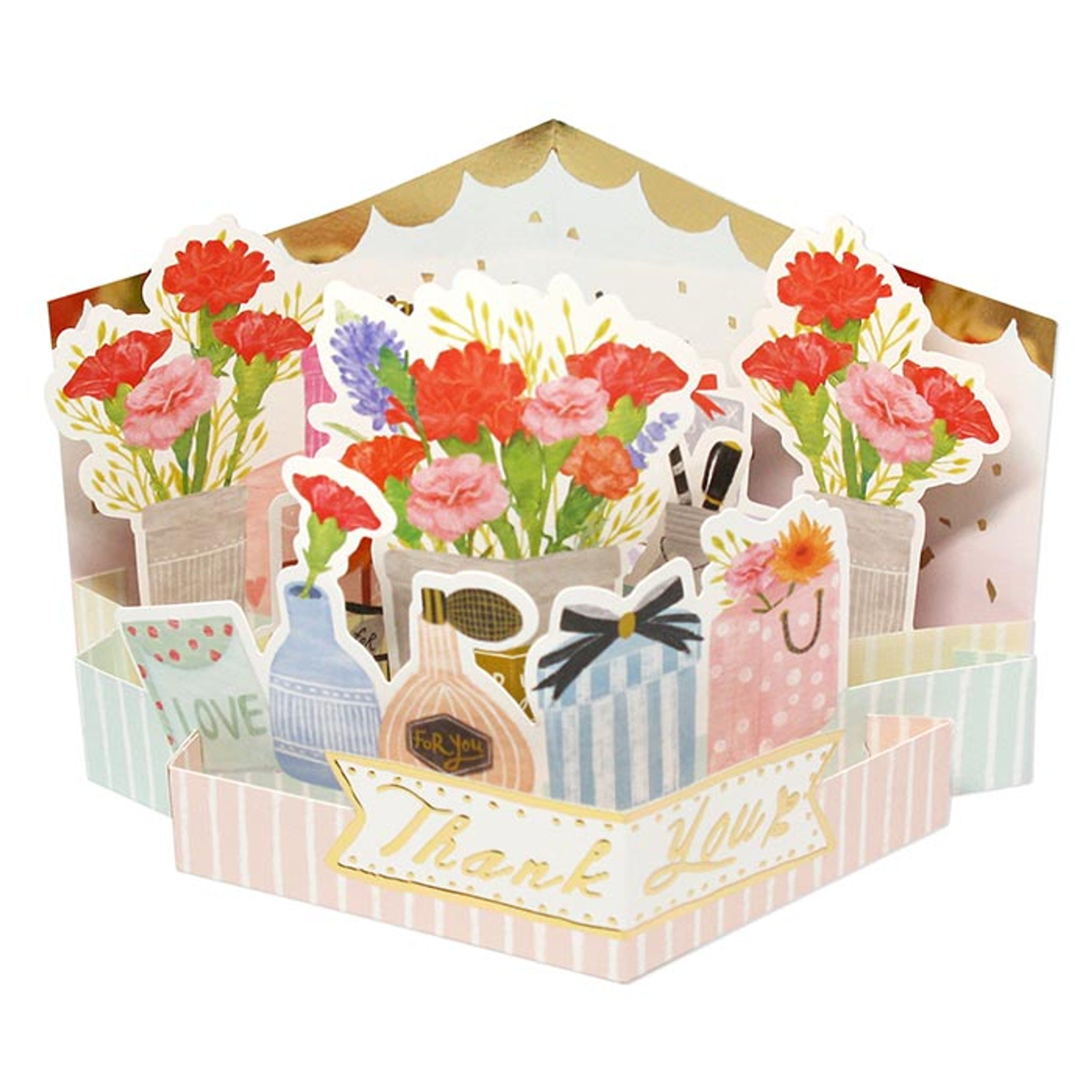 D'Won 3D Pop Up Card Thank You Flower With Gifts