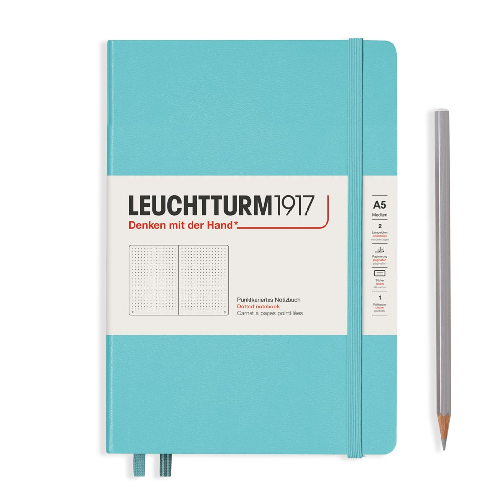 Leuchtturm1917 Hardcover A5 Medium Notebook Aquamarine - Dotted