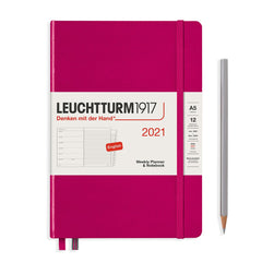 Leuchtturm1917 A5 Medium Weekly Planner & Notebook 2021 - Berry