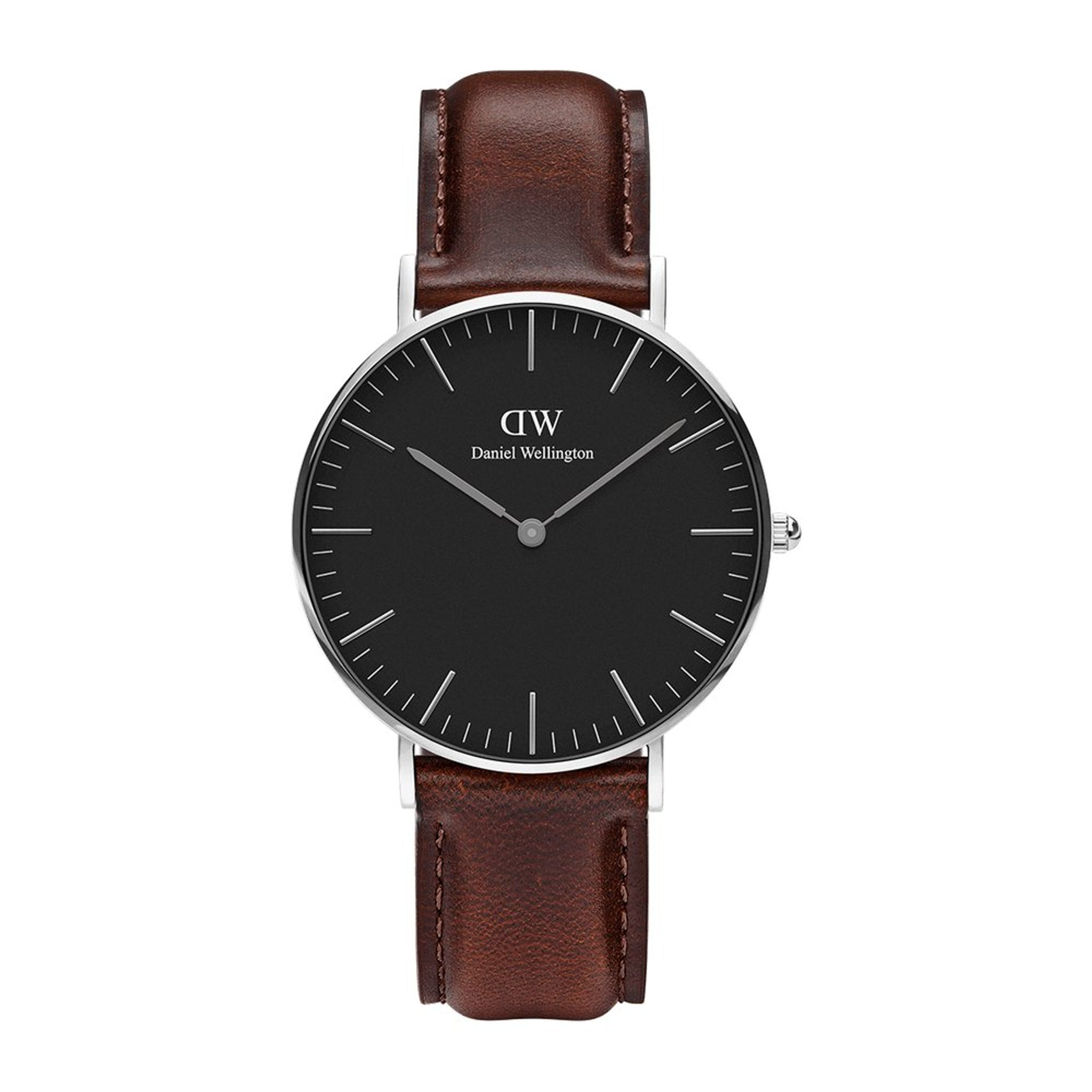 Daniel Wellington Classic Black Bristol Silver 36mm Watch