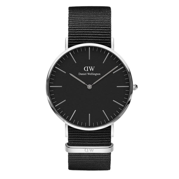 Daniel Wellington Classic Black Cornwall 36mm Silver Watch