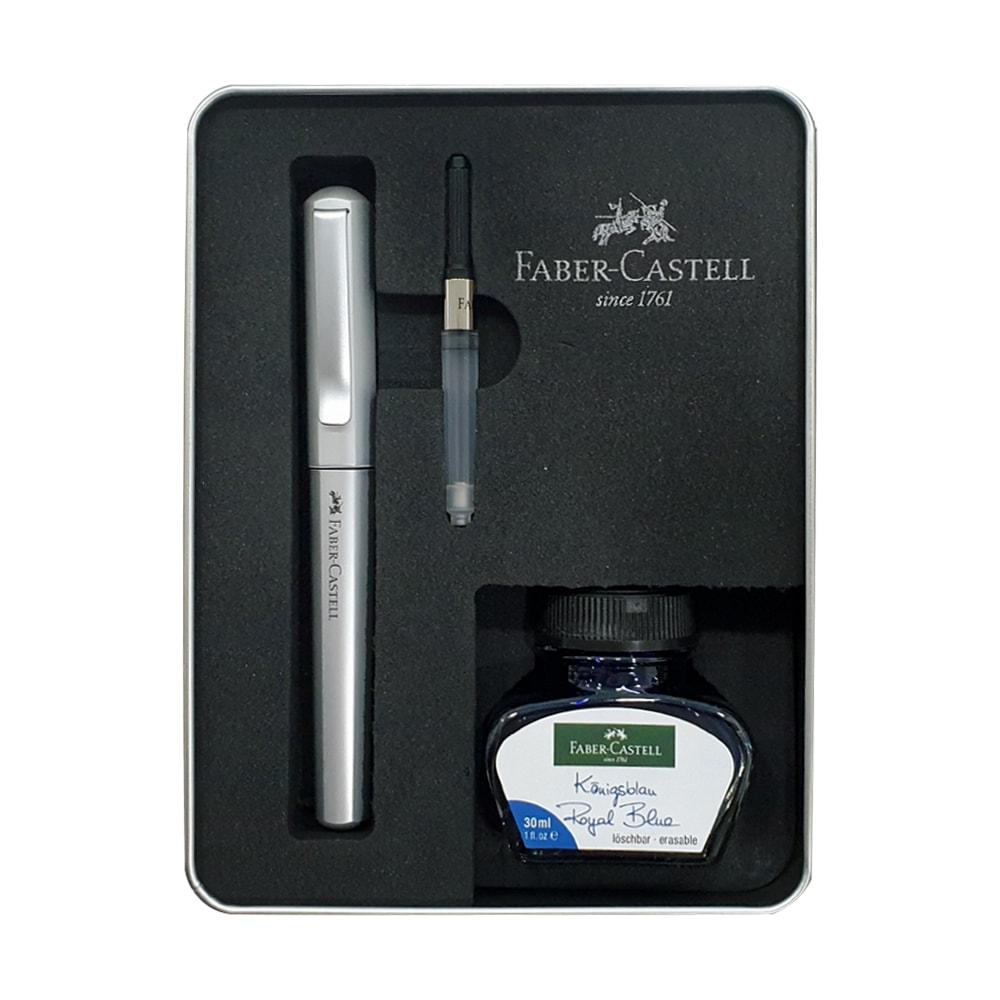 Faber-Castell Hexo Fountain Pen Gift Set Silver