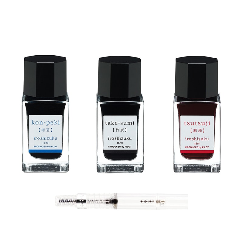 Pilot Iroshizuku 15ml Ink Bottle Set of 3 with Converter