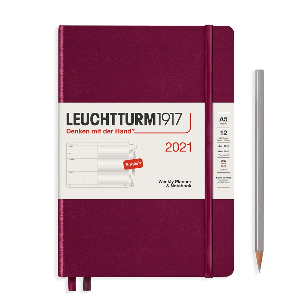 Leuchtturm1917 A5 Medium Weekly Planner & Notebook 2021 - Port Red