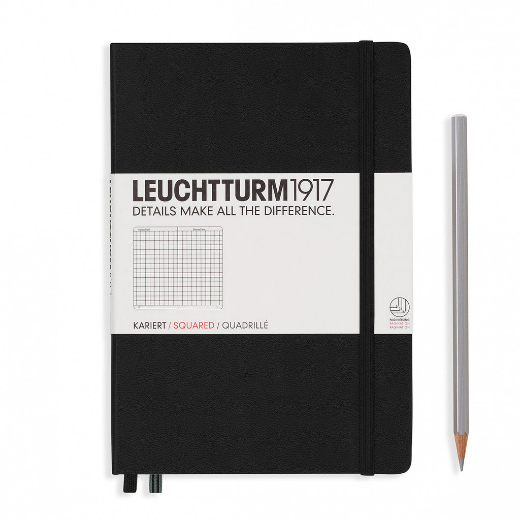 Leuchtturm1917 Hardcover A5 Medium Notebook Black - Squared