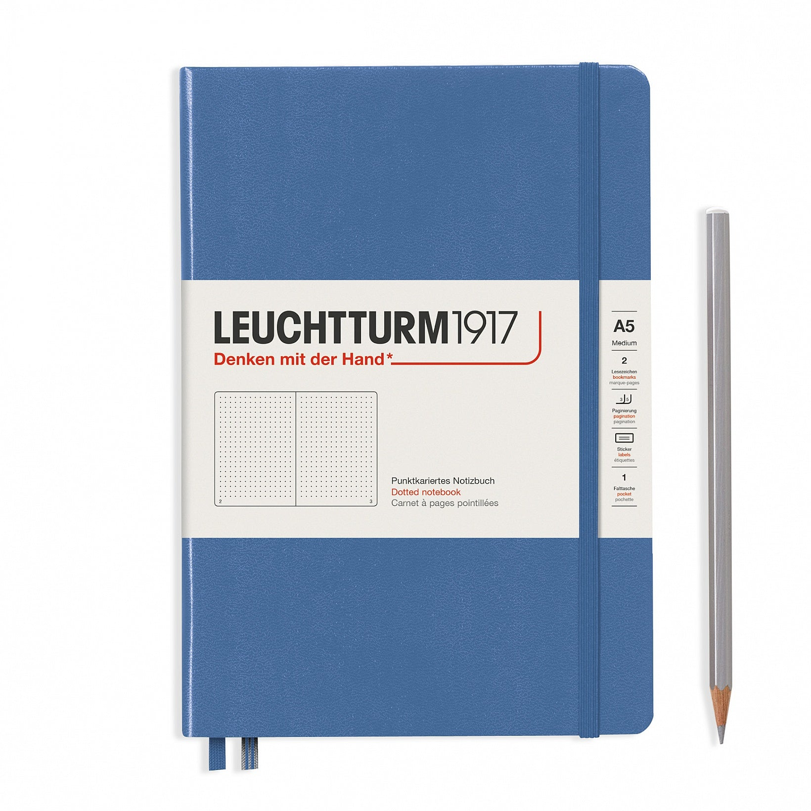 Leuchtturm1917 Hardcover A5 Medium Notebook Denim - Dotted