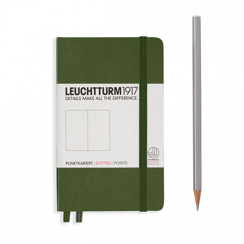Leuchtturm1917 Hardcover A6 Pocket Notebook Army - Dotted