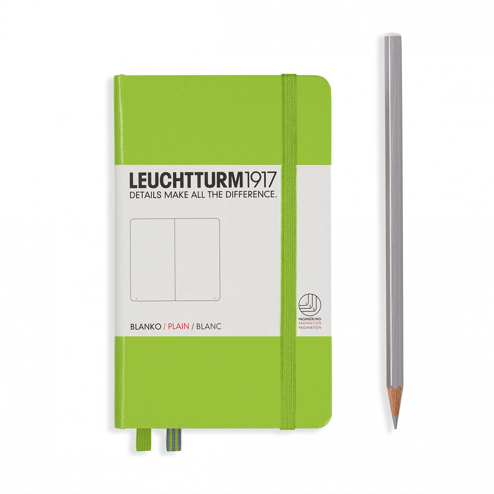 Leuchtturm1917 Hardcover A6 Pocket Notebook Lime - Plain