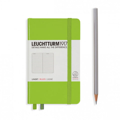 Leuchtturm1917 Hardcover A6 Pocket Notebook Lime - Ruled