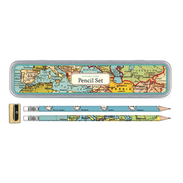 Cavallini Pencil Set Vintage Map