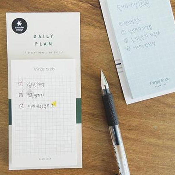 Suatelier Daily Plan Sticky Memo Blue