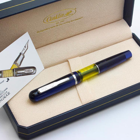 Conklin Heritage Word Gauge Fountain Pen Blue Swirl - Cityluxe