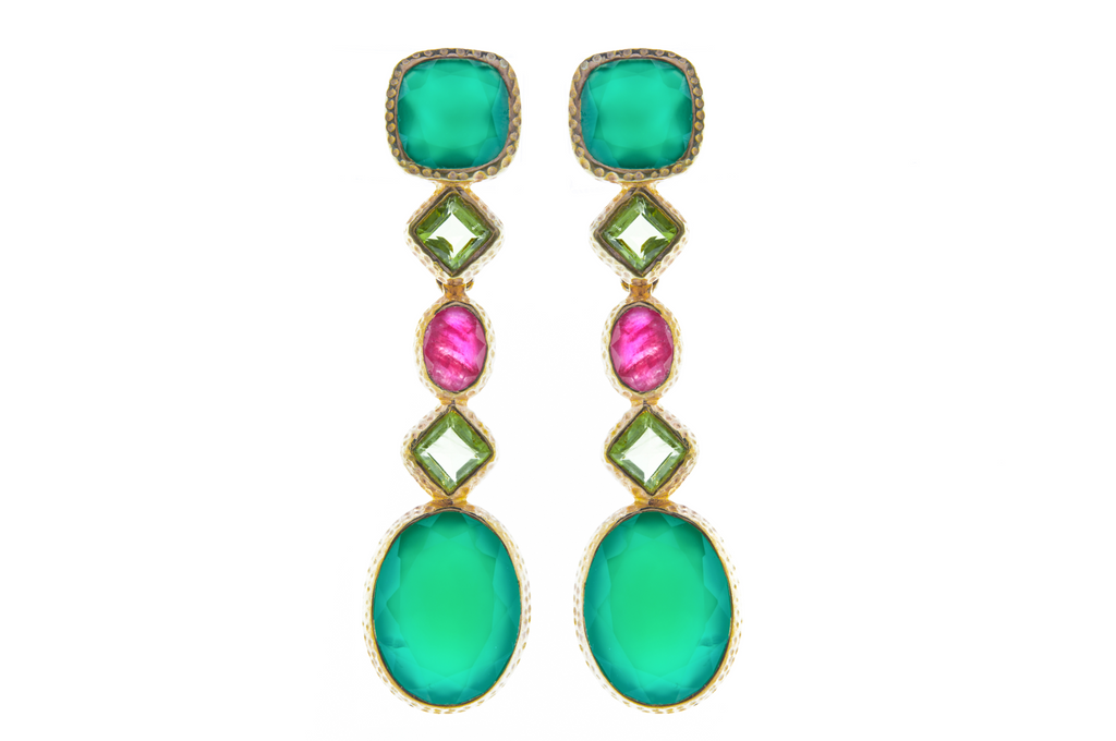 Ruby Peridot and Green Onyx set in Silver with 18K Gold Vermeil