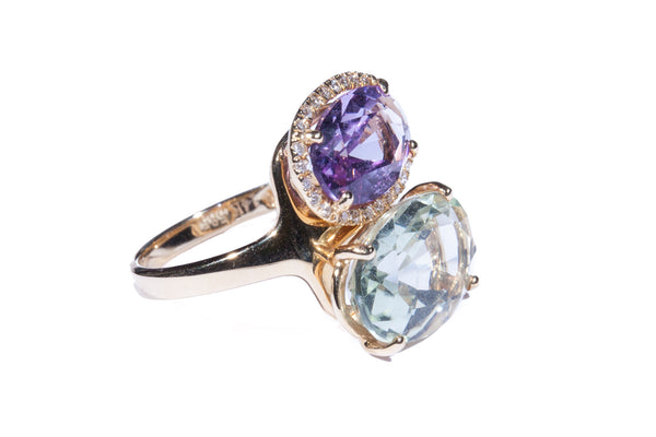 14K Rose Gold Green Amethyst and Amethyst