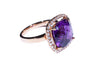 18K Rose Gold Cushion Cut Amethyst with Diamonds