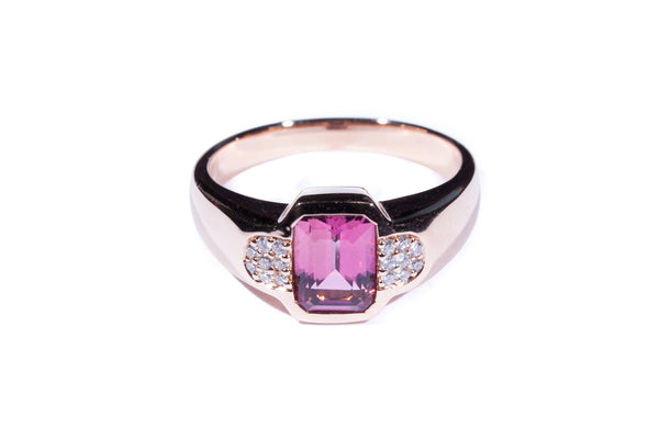 18K Rose Gold Pink Tourmaline Diamond Ring