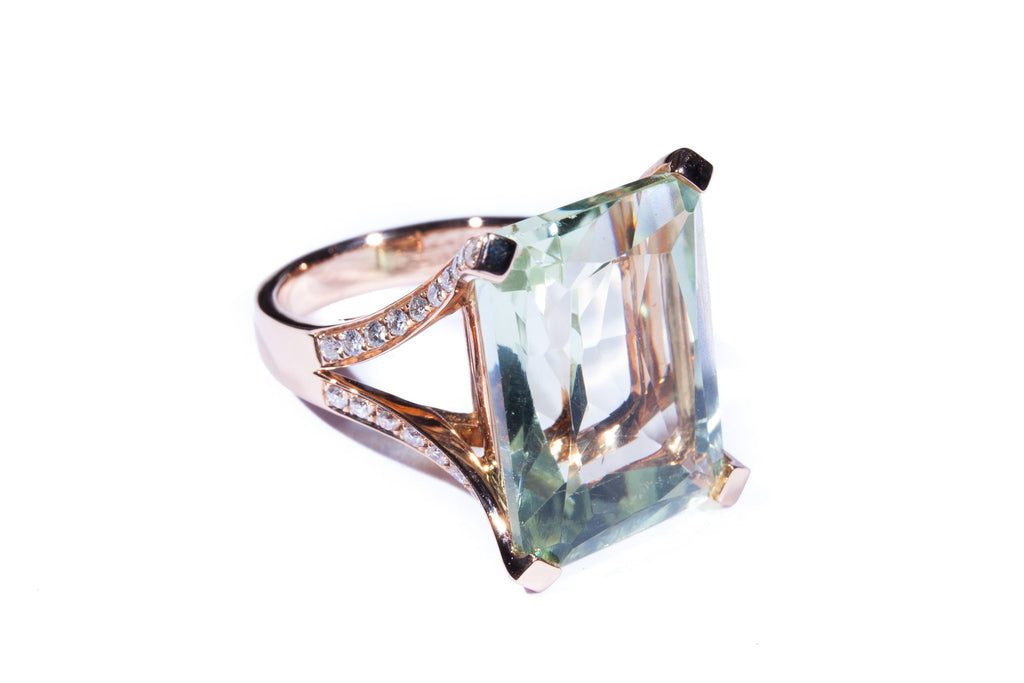 18K Rose Gold Green Amethyst with Diamonds