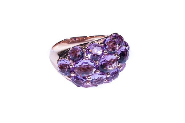 18K Rose Gold with Antique Cut Amethyst